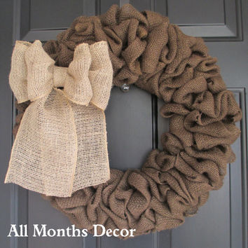 Brown Burlap Wreath with Natural Burlap Bow, Country, Rustic, Door Porch, Spring Summer Fall Winter, Holiday, Year Round