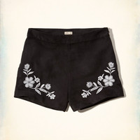 Embroidered Suede Tap Shorts