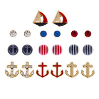 Red, White and Blue Crystal and Nautical Motif Stud Earrings Set of 10