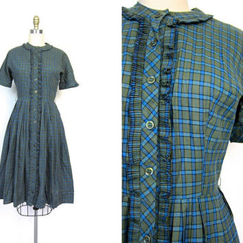 Plaid 50s House Day Dress Midi Blue Green Button Up Shirt Dress Ruffled Cotton Pleated Full Skirt Mid Century Small Louannes Vintage Small