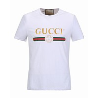 Gucci Classic Popular Women Men Leisure Short Sleeve Round Collar T-Shirt Pullover Top Tee White I/A