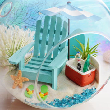 "Beach Terrarium ~ Cooler and Beach Umbrella 4 Colors ~ Adirondack Chair ~ Air plants ~ 8"" Glass Round Globe ~ Beach Decor ~ Great Gift Idea"