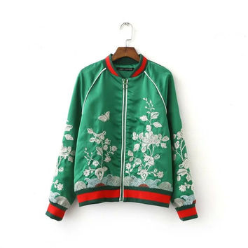 Silk Women's Embroidery Floral Bomber Jacket