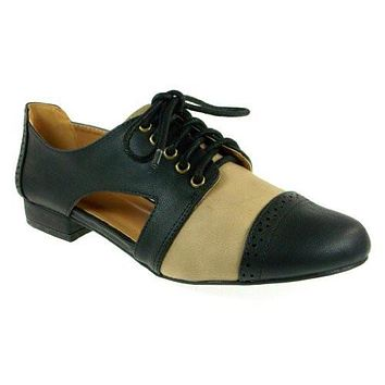 Women's Qupid Oliver-02 Cap Toe Open Side Lace Up Shoes