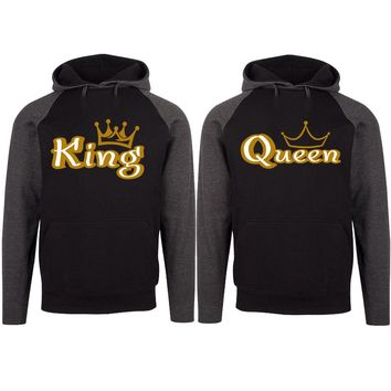 Gold King and Queen Two-tone Black / Charcoal Raglan Hoodie