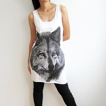 Wolf Tank Top T Shirt Women White T-Shirt Size M