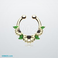 Golden Daisy Garden Icon Fake Septum Clip-On Ring