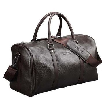Extra large weekend duffel bag big genuine leather business men's travel bag