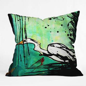 Sophia Buddenhagen Green And White Bird Throw Pillow