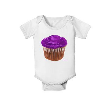 Giant Bright Purple Cupcake Baby Romper Bodysuit by TooLoud