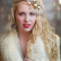 Gold Flapper Headpiece, Great Gatsby Bridal Hair Piece, 1920s Beaded Headband, Gold Flower Feather Fascinator on Champagne Ribbon