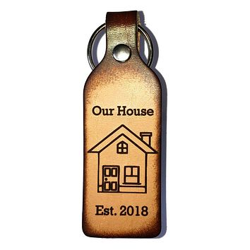 Our House with Established Date Leather Keychain