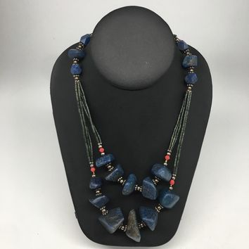 "119.5g, Lapis & Green Nephrite Jade Multi-Strands Beaded Necklace, 22"",NPH66"