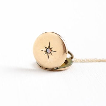 Antique Star & Opal Locket Necklace - Victorian Edwardian Early 1900s Round 12k Gold Filled Gemstone Pendant Jewelry Monogrammed HGB