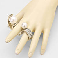 Pearl Silver Double Cuff Ring