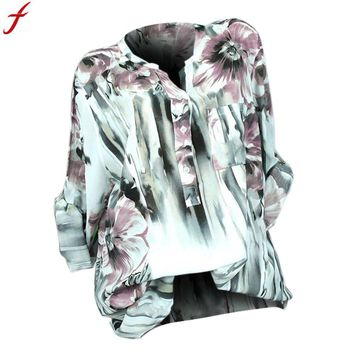 Plus Size Women Blouses And Tops 2018 Autumn Long Sleeve Floral Print Tunic Tops Loose Button  V Neck Lady Shirt blusas feminina