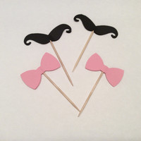 Pink and Black BowTie & Mustache Partypicks, Party decor, Baby shower, Happy Birthday, Cupcake toppers. 18 per order