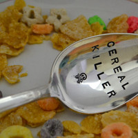 Cereal Killer spoon- table spoon with skull bone- birthday gift.