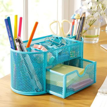 2016 New Blue/Red/Green Stationery Desk Organizer 9 cells Metal Mesh Desktop Office Pen Pencil Holder Study Storage