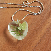 Real Flowers in Resin, Pressed Flower Botanical Jewelry, Hydrangea and Green Foliage, Unique Heart Jewelry, Woodland