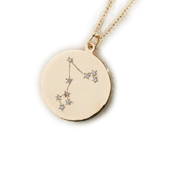 Zodiac Constellation Collection: PISCES, Solid  14k Gold & Diamond Pendant/Charm Necklace