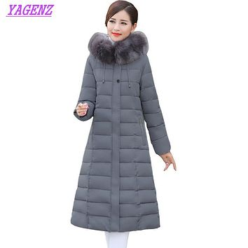 Winter Middle-aged Women Long warm Down cotton Jacket Fashion Detachable cap Cotton outerwear Fur collar Plus size Overcoat B185