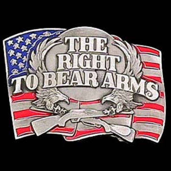 Right to Bear Arms  Enameled Belt Buckle