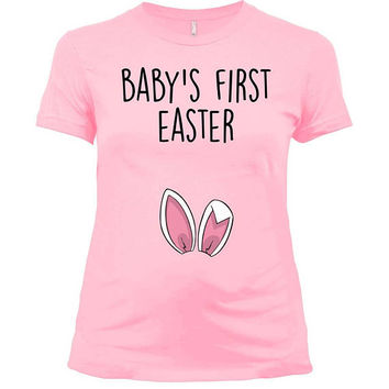 Easter Maternity Shirt Pregnancy T Shirt Baby Reveal Spring Announcement Expecting Mom Easter Bunny TShirt New Baby's First Easter - SA1035