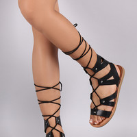 Soda Strappy Gladiator Lace Up Flat Sandal
