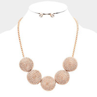 Rose Gold Chunky Rhinestone Ball Bib Statment Necklace