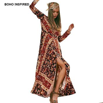 Bohemian Button Down Long Maxi Dress