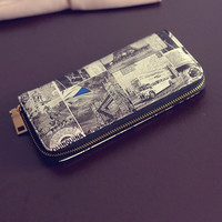 Women PU Print Wristlet Wallet Retro Chinese Style Passport Wallet