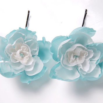 Two mint and white silk bobby pins