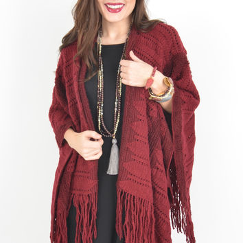 Maroon Open Knit Shawl with Fringe Hem