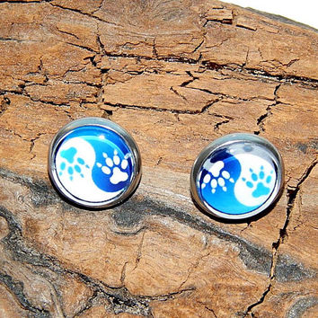 Ying and Yang stud earrings jewelry, Ying Yang cat paw, Animal Lover Ying Yang Dog Cat, Ying Yang simbol, Ying Yang cat patch,cat lovers