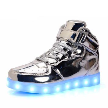 UOVO 2017 New Arrival LED Shoes Kids Luminous Shoes Glowing Sneakers for Boys and Girl