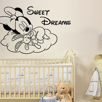 Minnie Mouse Wall Decals Sweet Dreams Vinyl Sticker Nursery Kids Girl Room SM82