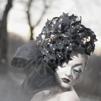 Dramatic Oversized Black Headpiece - Fascinator Fashion Statement - Glitter Stars - Designer Race Wear - Headpiece Unique - Shimmering