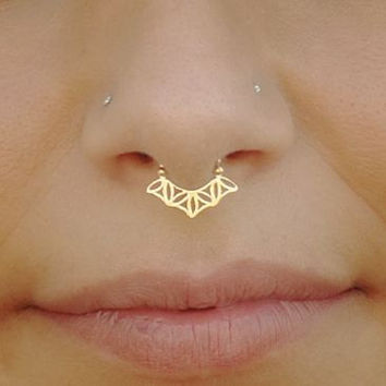 Gold Septum Ring For Pierced Nose - Flower Of Life - Sacred Geometry - Septum Jewelry - Gold Plated - Tribal Septum