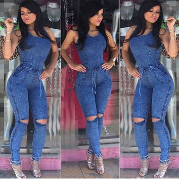 New Arrival Women Jumpsuits Jeans European Style Playsuit Women Jumpsuit Denim Overalls Sexy Rompers Girls Jeans S-L Bodysuit