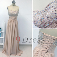 Champagne Long Bridesmaid Dress,Strapless prom dress,high fashion floor length prom dress bridesmaid dress evening dress