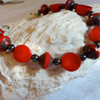 Red Coral and Czech Glass Bracelet