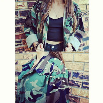 Made To Order Camouflage Army Jacket Spike by WildHeartsApparel
