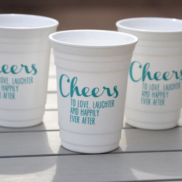 Set of 3 Bachelorette party solo cups | Cheers to love, laughter and happily ever after | Available personalized with each girls name