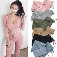 Sexy Fashion Show Thin Long Sleeve Fitness yoga suit sport style suit