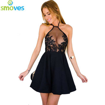 Smoves Gauze Metallic Lace Insert Women's Halter A-Line Mini Dress Sexy Blackless See Through Skater Dresses Plus size S-XL New