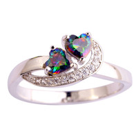 Fashion Jewelry Hand made Chic Multi-Color Rainbow Topaz 925 Silver Ring Size 6 7 8 9 10 11