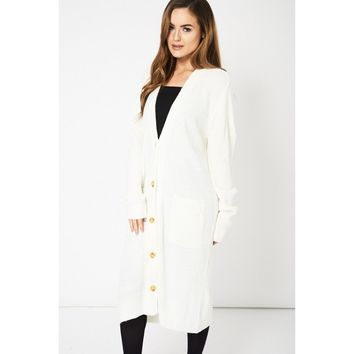 Cream  Knitted Longline Cardigan