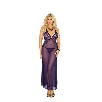 Elegant Moments Deep V Mesh Gown With G-String