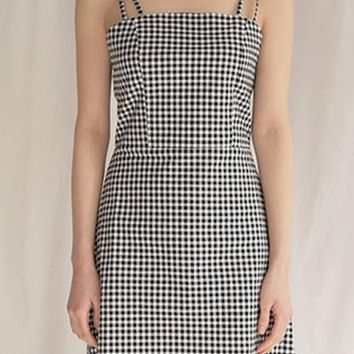 Black-White Plaid Checkered Spaghetti Strap Square Neck A-line Cute Mini Dress